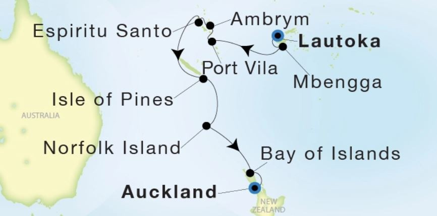 Map for From Lautoka to Auckland (Sea Dream Innovation)
