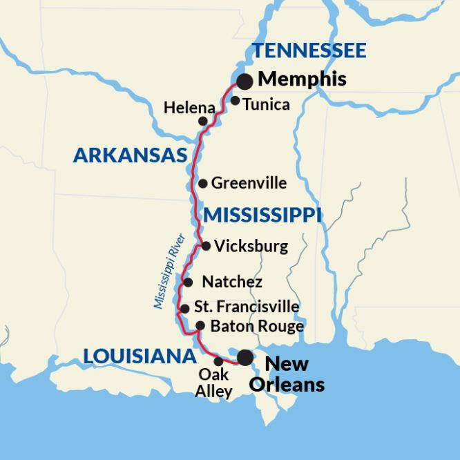 Map for Lower Mississippi River Cruise (American Jazz)