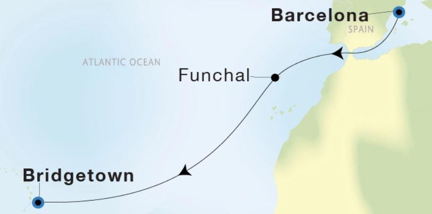 Map for Luxury Transatlantic: Barcelona to Bridgetown