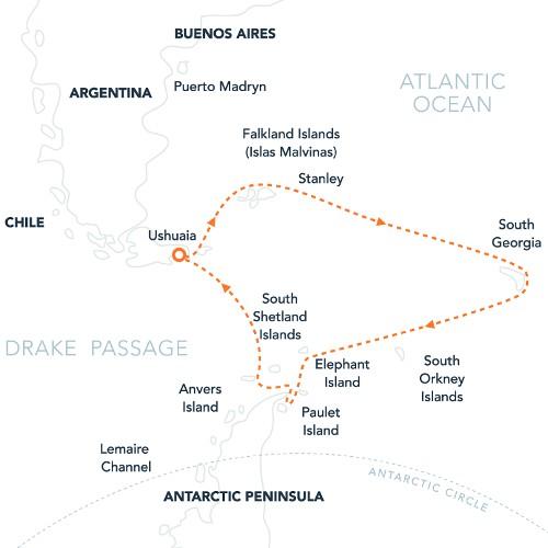 Map for Falklands, South Georgia & Antarctica (Island Sky)