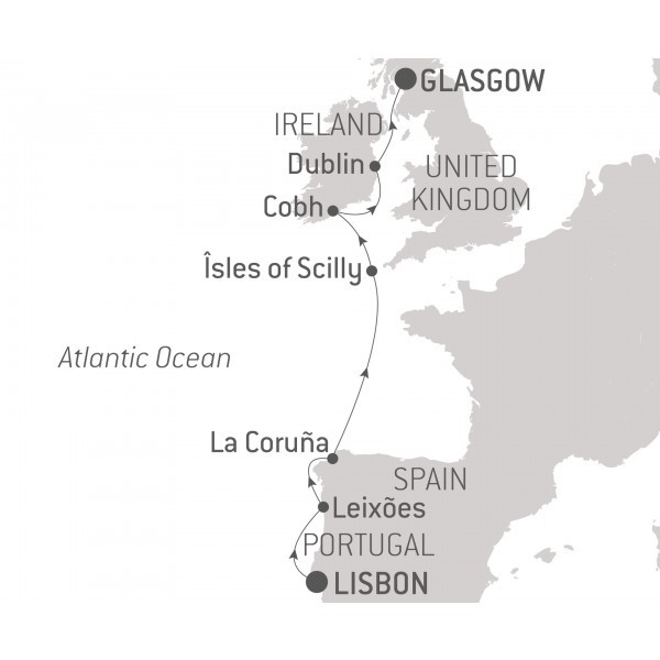 Map for Cruise Northern Europe: From Portugal to Scotland