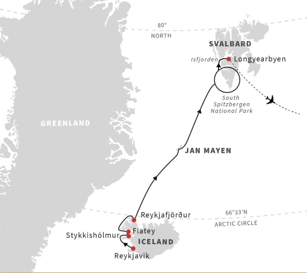 Map for Iceland, Jan Mayen, Spitsbergen - Arctic Islands Discovery