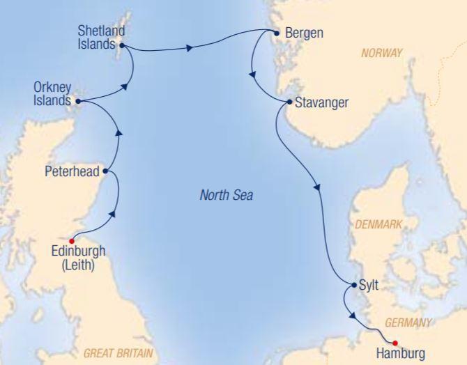 Map for Vikings, Castles & Fascinating Fjords