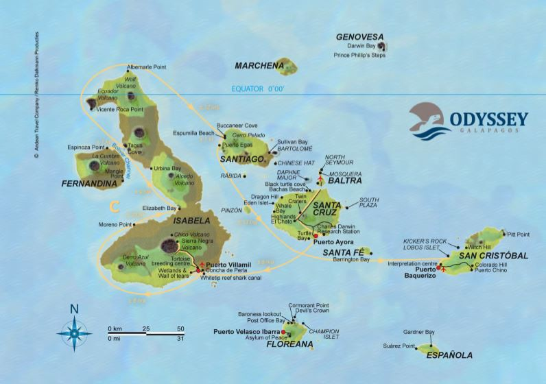Map for Galapagos Cruise C (Galapagos Odyssey)