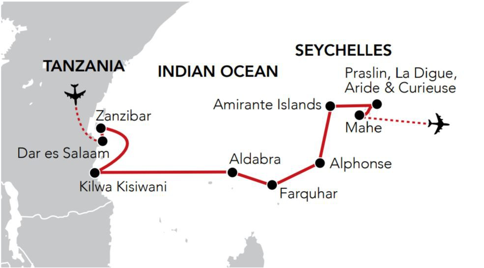 Map for Seychelles Odyssey