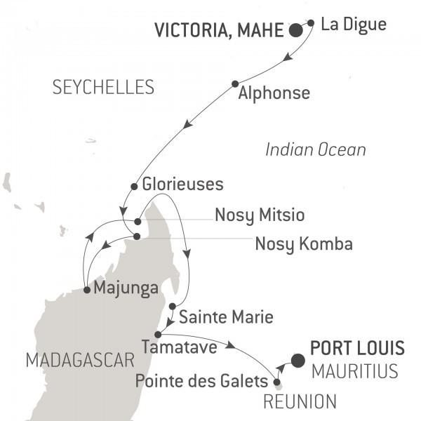 Map for Madagascar, Reunion and Mauritius