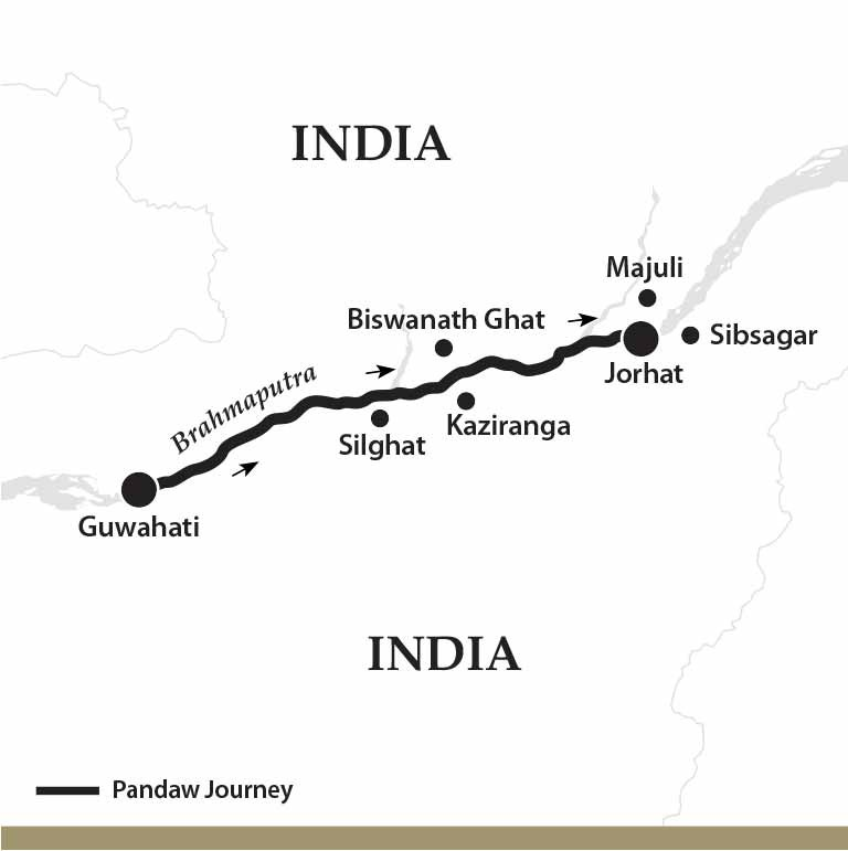 Map for The Mighty Brahmaputra River (Upstream)