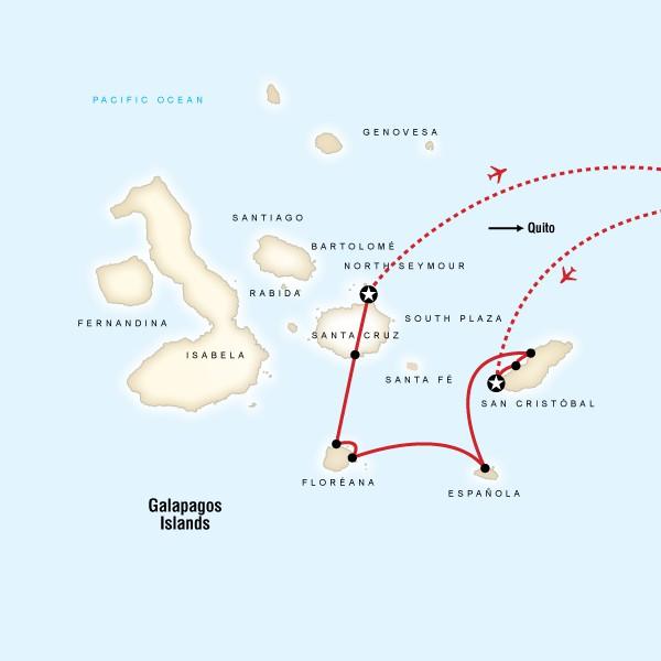 Map for Galápagos — 7 Days South & East Islands (Monserrat)