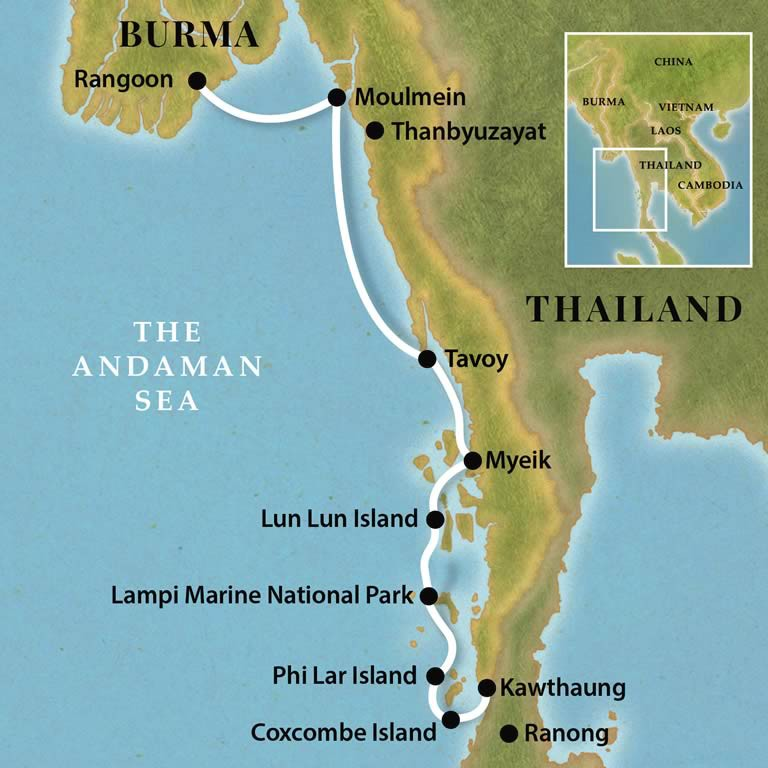 Map for Burma Coastal Voyage