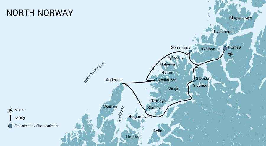 Map for North Norway, Aurora Borealis & Whales 2019