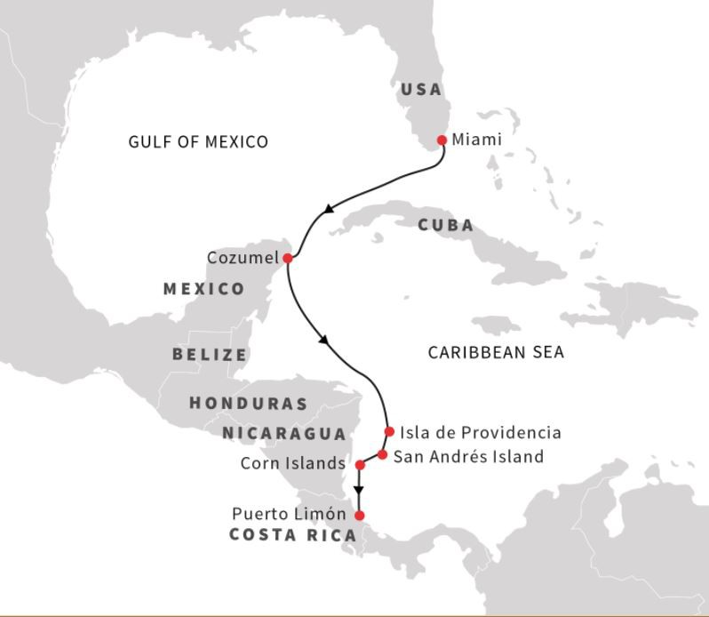 Map for Caribbean Sea - From Miami to Puerto Limon