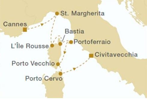 Map for Cannes to Rome 2019 (Royal Clipper)