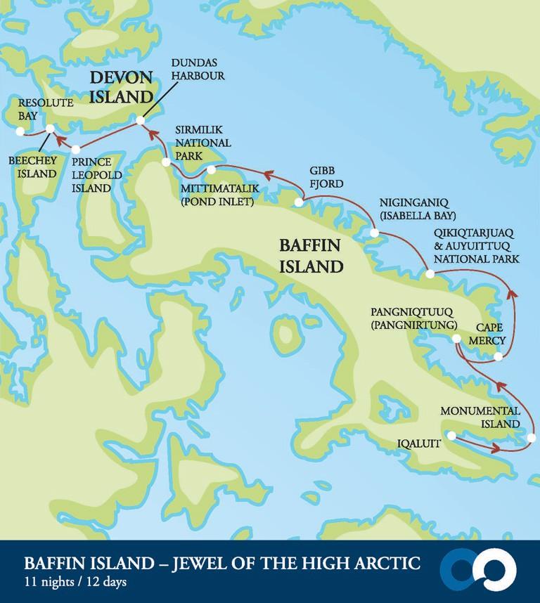 Map for Baffin Island - Jewel of the High Arctic (Akademik Ioffe)
