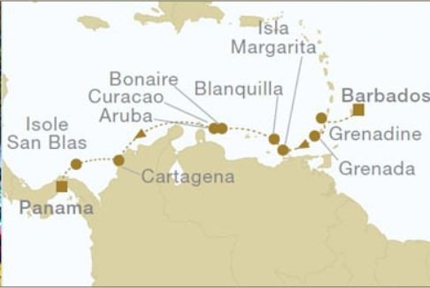 Map for Barbados to Panama (Star Flyer)