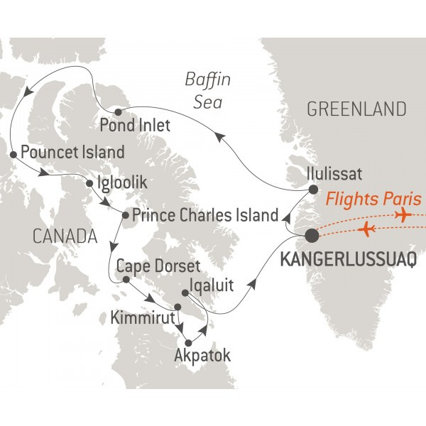 Map for Baffin Island Adventure (L'Austral)