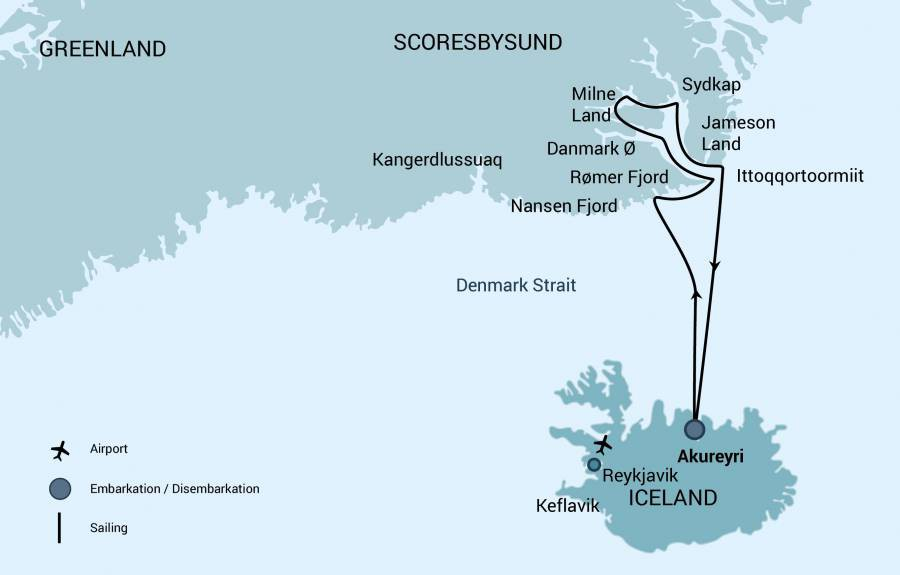 Map for Scoresby Sund, Aurora Borealis (Hondius)