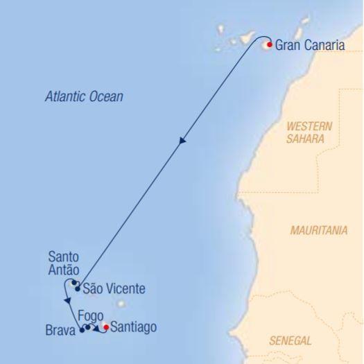 Map for Cape Verde Islands: Fascinating Natural & Cultural Landscapes