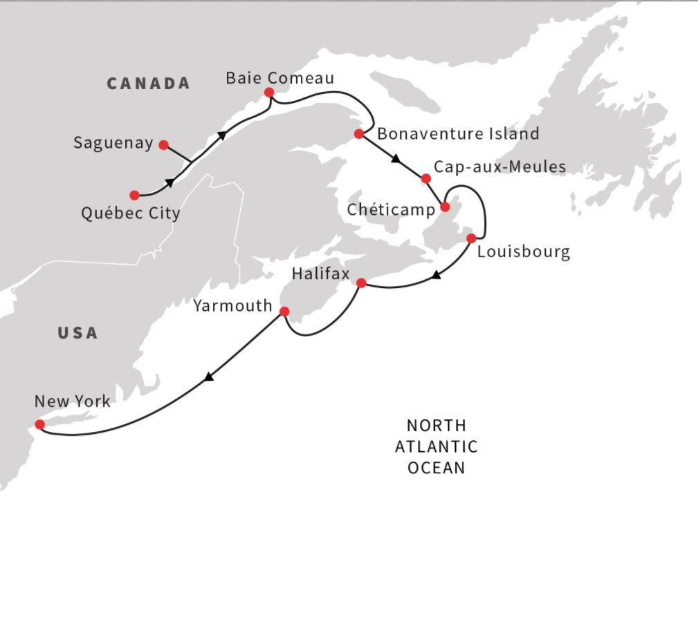 Map for US & Canada – Exploring Hidden Harbours (Southbound)