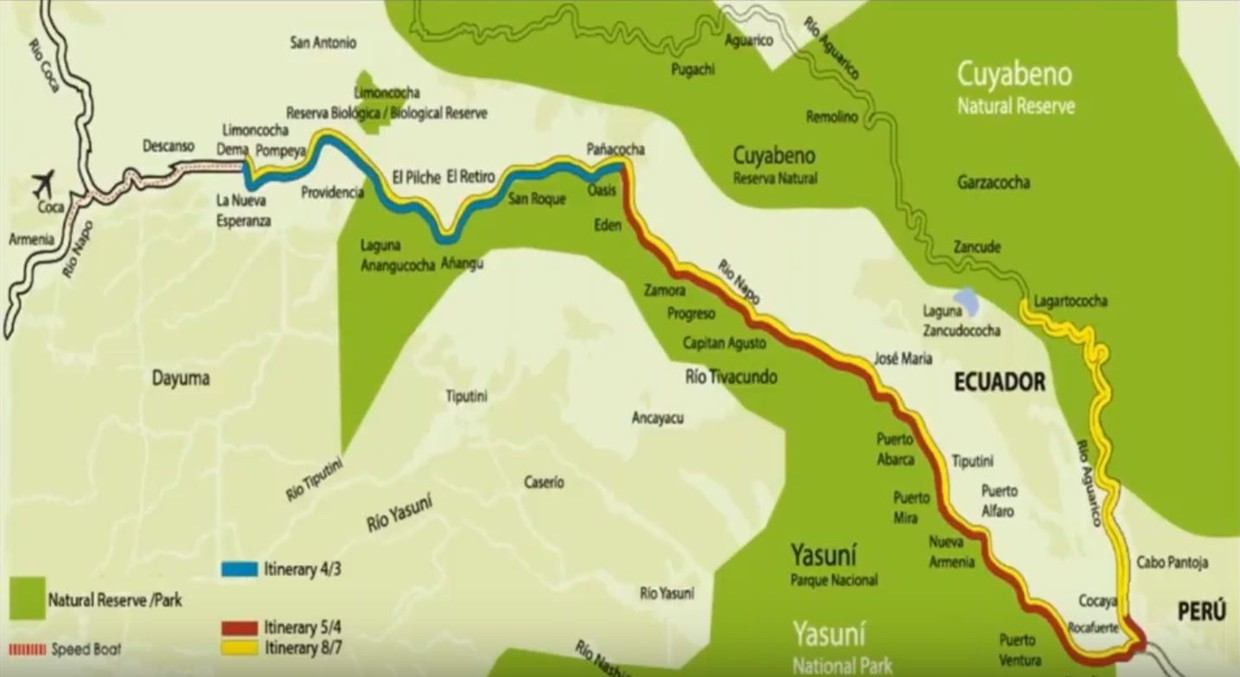 Map for Manatee Amazon River Cruise - 8 Days (Monday to Monday)