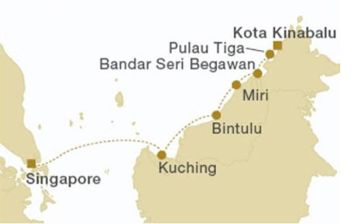 Map for Borneo Eastbound (Star Clipper)