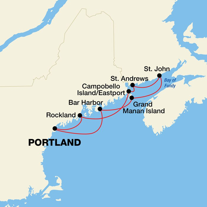 Map for Maine Coast and Canadian Harbors
