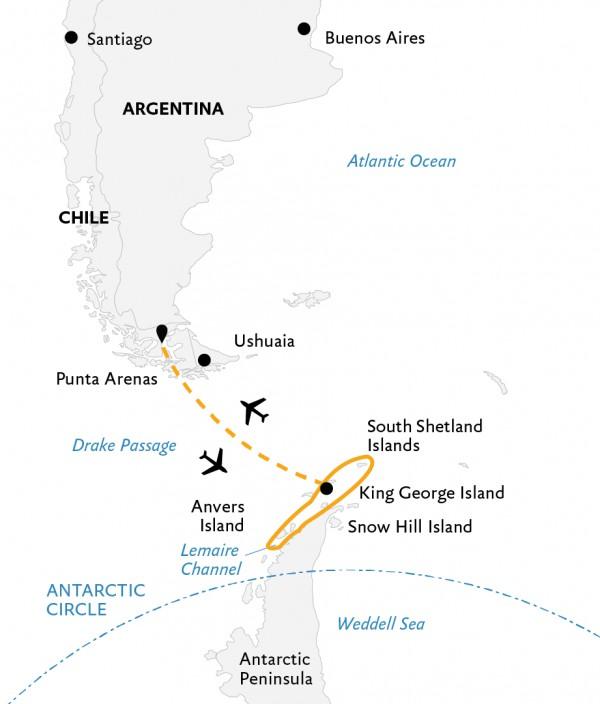 Map for Antarctic Express: Peninsula in Depth