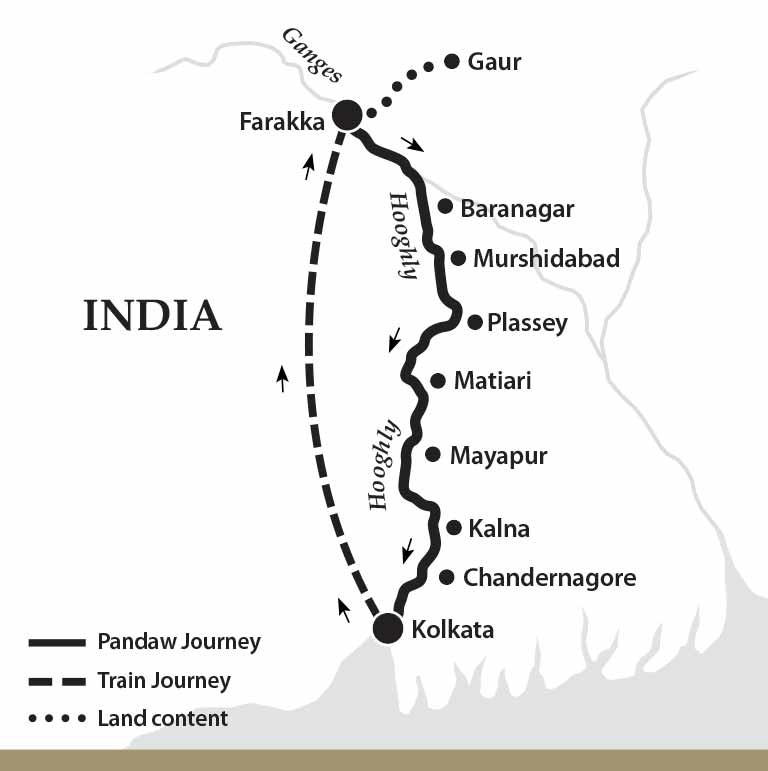 Map for The Lower Ganges River Cruise (Downstream)
