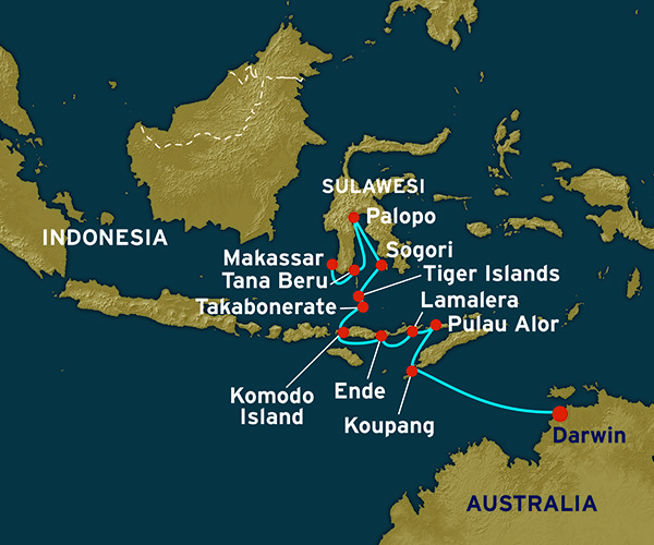 Map for Sulawesi to Australia (Darwin to Makassar)