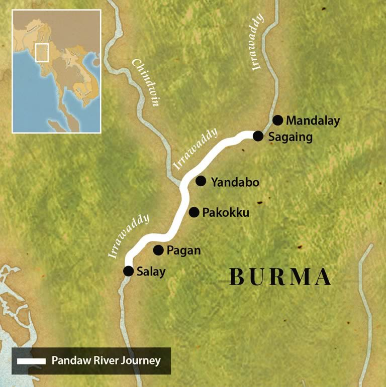 Map for Pagan to Mandalay Four Night Cruise