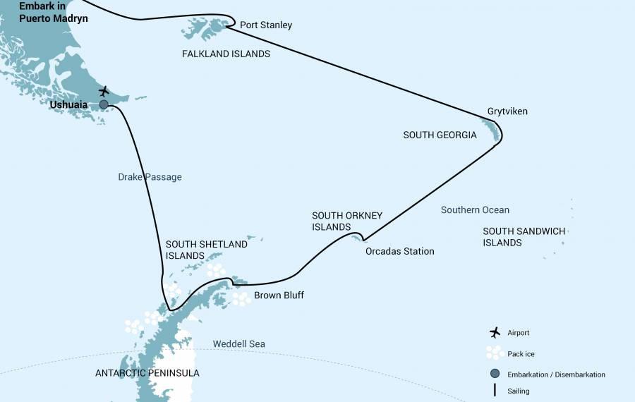 Map for Falklands - South Georgia - Antarctica - 21 Days (Hondius)