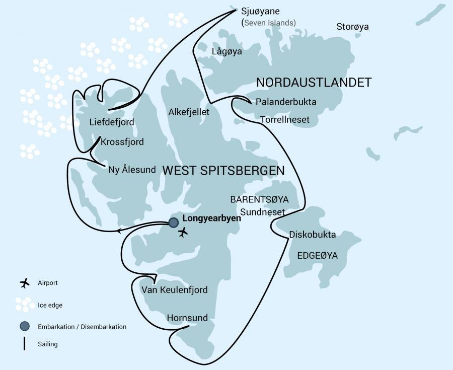 Map for Around Spitsbergen (Hondius)