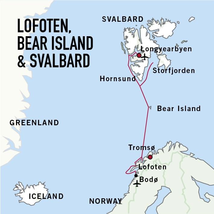 Map for Lofoten, Bear Island & Svalbard