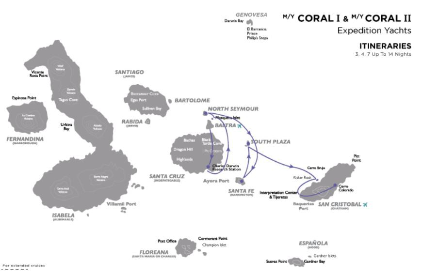 Map for Galapagos East Cruise C (Coral I & II)