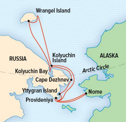 Map for Exploring Russia's Far East & Wrangel Island