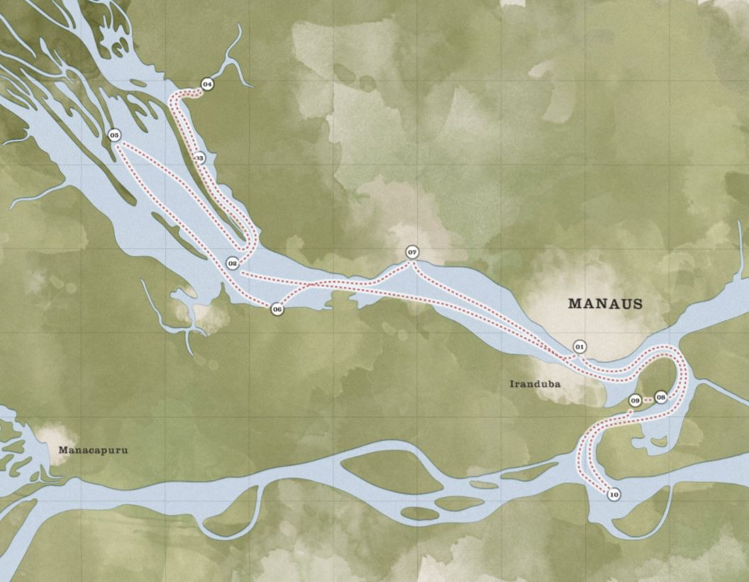 Map for Maguari Amazon Cruise