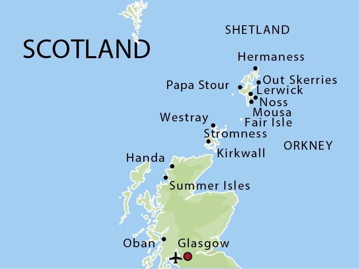 Map for The Orkney & Shetland Islands (Stockholm)