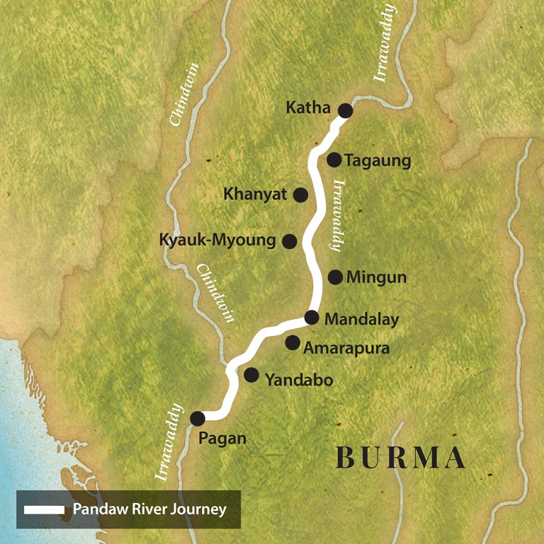 Map for Pagan and the Upper Irrawaddy (Downstream)