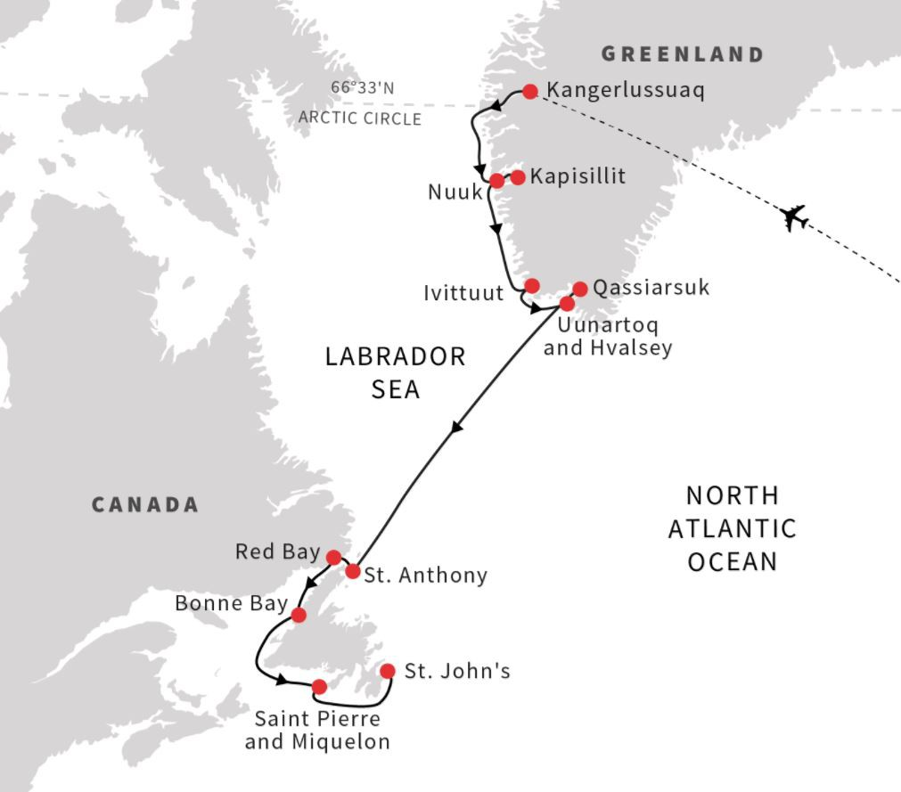 Map for Greenland, Newfoundland & Labrador