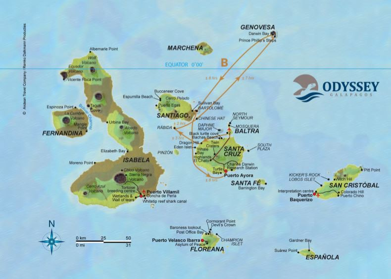 Map for Galapagos Cruise B (Galapagos Odyssey)