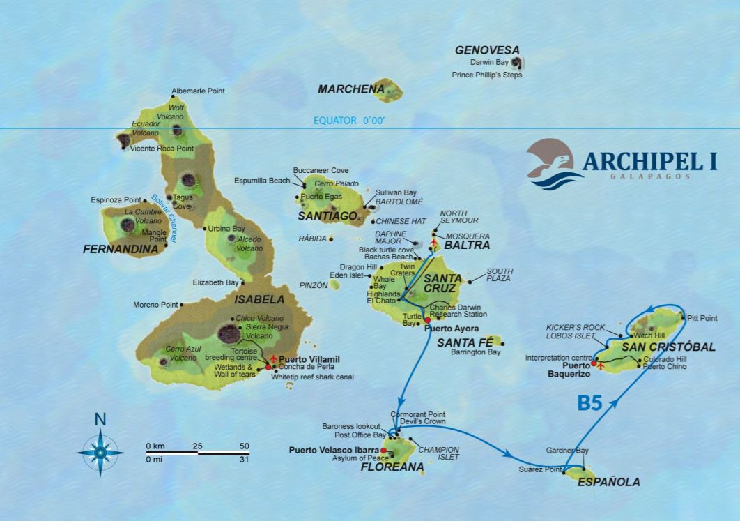 Map for Galapagos 5 Day Cruise Itinerary B (Archipel I)