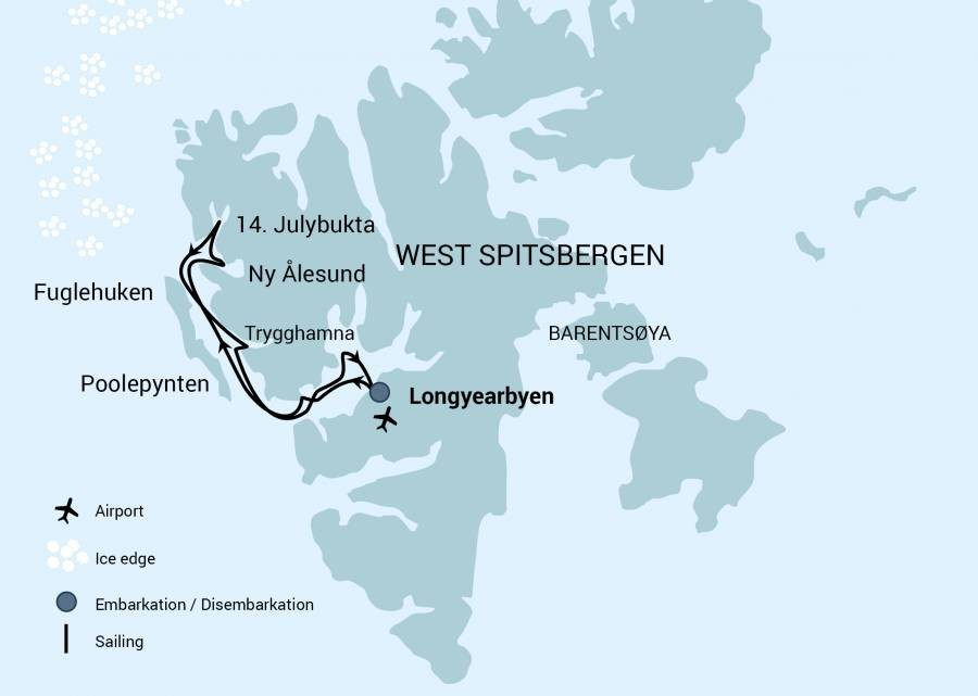 Map for North Spitsbergen, Arctic Spring - Hike & Sail