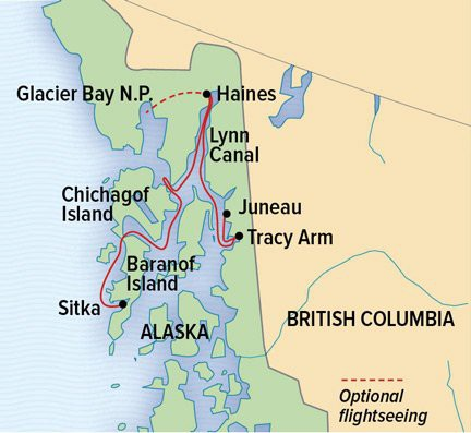 Map for Wild Alaska Escape: Sitka to Juneau