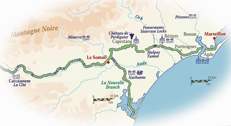 Map for Canal du Midi Cruise (Anjodi)