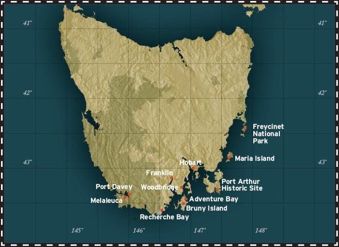 Map for Coastal Treks of Tasmania