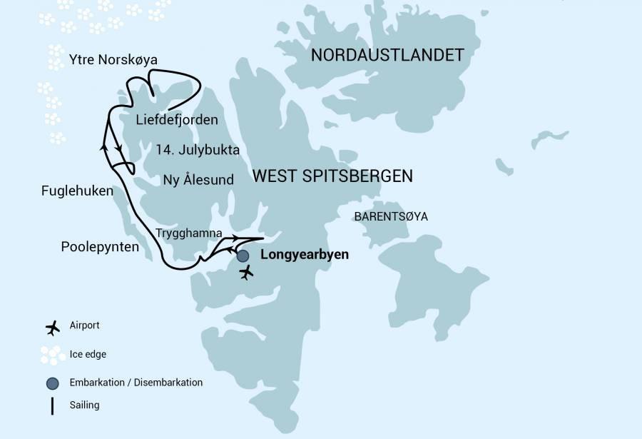 Map for North Spitsbergen, Arctic Summer (Noorderlicht)