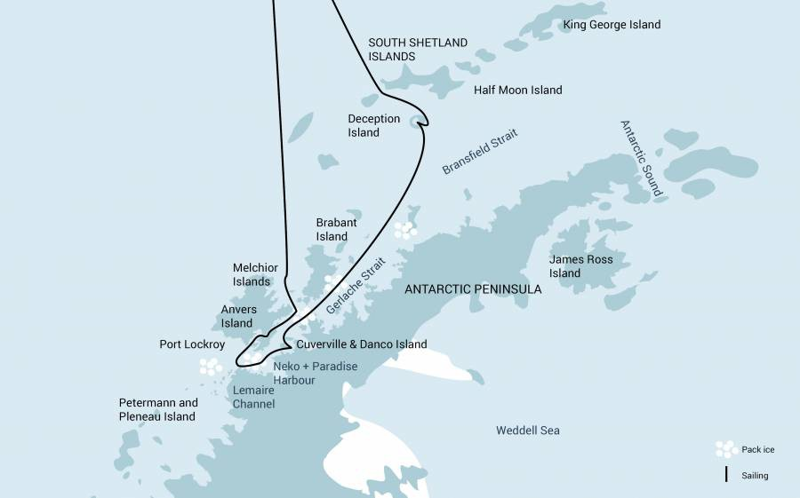 Map for Antarctica - Discovery and Learning Voyage - 11 Days