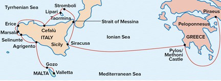 Map for Voyage to Antiquity: Exploring Sicily and Malta aboard Sea Cloud