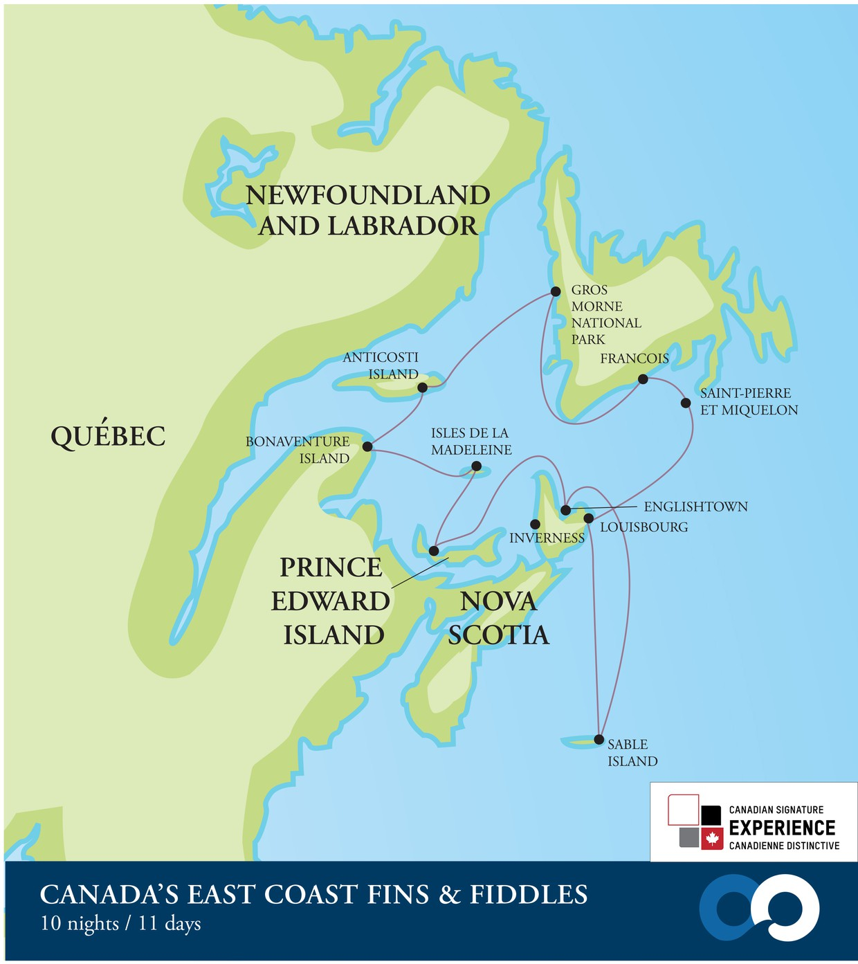 Map for Canada's East Coast Fins and Fiddles (RCGS Resolute)