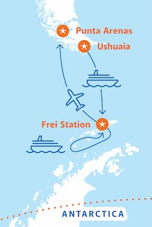 Map for Antarctica Express Air-Cruise (Magellan Explorer)