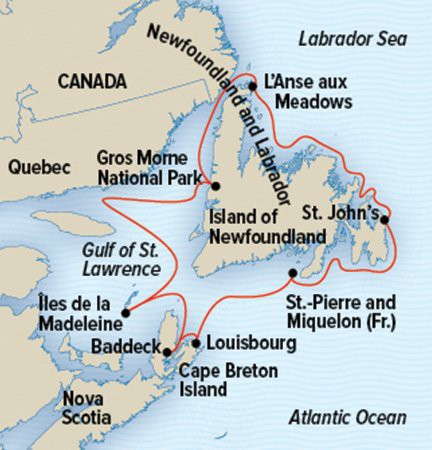 Map for The Canadian Maritimes & Newfoundland